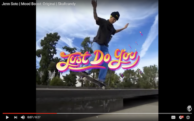 Skullcandy partners with inspirational celebrities, like the skateboarder Jenn Soto, to promote a movement called Mood Boost that encourages people to feel better in their day to day lives.