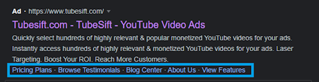 Here is an example of a sitelink for Tubesift, which shows viewers other options from the website.