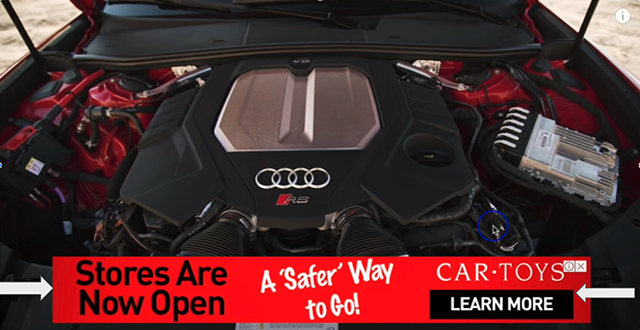 Video Overlay Ad example. This is a Car Toys ad on a video about Audi RS6.