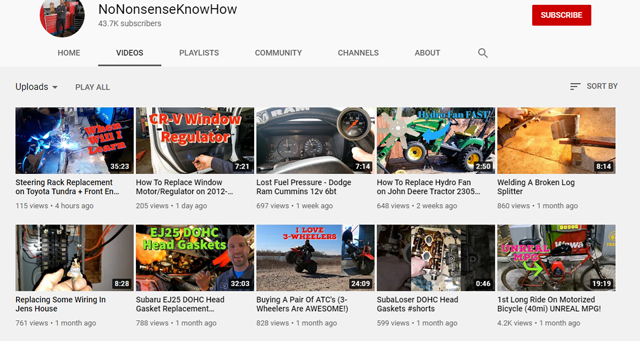 This is an example of a channel that only has one video about John Deere tractors, so this wouldn't be an ideal channel for placements if you're marketing tractors.