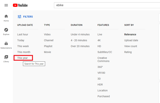 After you do a search for your niche on YouTube, hit Filters > Filter by upload date > This year.