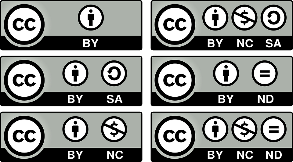 There are several types of creative commons licenses which affect the terms of delivery.