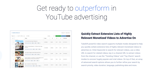 TubeSift's video search feature and easy-to-use platform makes placement targeting on YouTube easy and delivers advertisers a higher ROI.