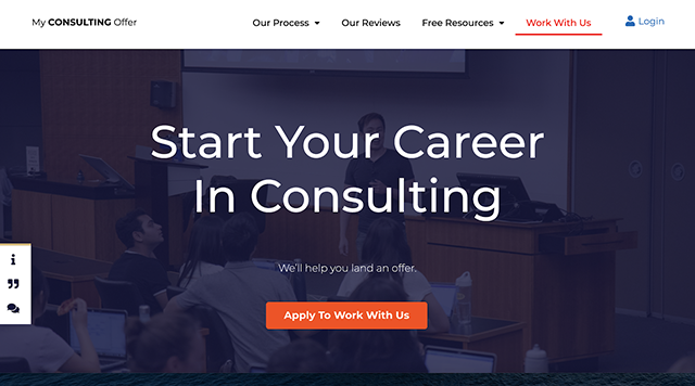 MyConsultingOffer.org helps people find jobs in management consulting.