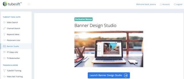 Use the Banner Design Studio to make your companion banners for your YouTube Ads. Image: TubeSift, Banner Design Studio.