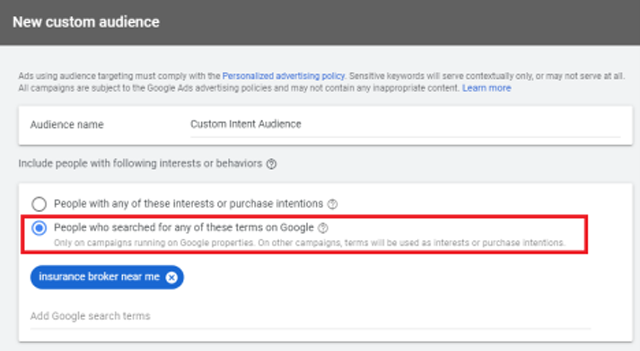 For Intent Targeting, you must create a Custom Audience. This is an important step for your YouTube Ad Targeting.
